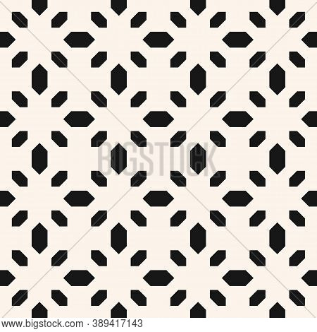 Floral Geometric Seamless Pattern. Simple Minimal Vector Ornament With Small Flower Shapes, Diamonds