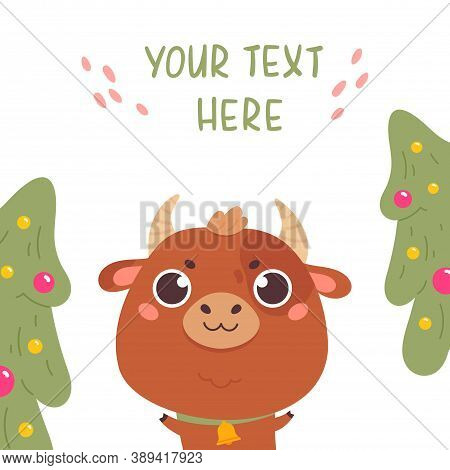 Cute Cartoon Ox With The Christmas Tree. Design For Greeting Cards, Stickers, Banners, Prints. Xmas