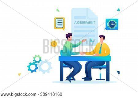 Merger Of Companies, Businessmen Sign An Agreement. Flat 2d. Vector Illustration Web Design.