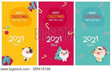Template Design For Christmas Sale With Cute Ox.christmas Advertising.xmas Cute Ox And Holiday Candi