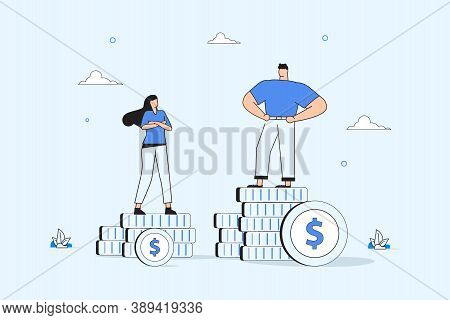 Businessman And Businesswoman Are Standing On Stacks Of Coins Representing Wages Level. Gender Gap A