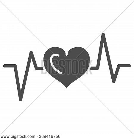 Electrocardiogram Solid Icon, Medical Tests Concept, Heart Beat Sign On White Background, Heartbeat