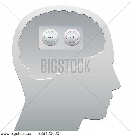 Human Brain With Start And Stop Button, Symbolic For Concentration, Weakness Of Thought, Just Relaxi