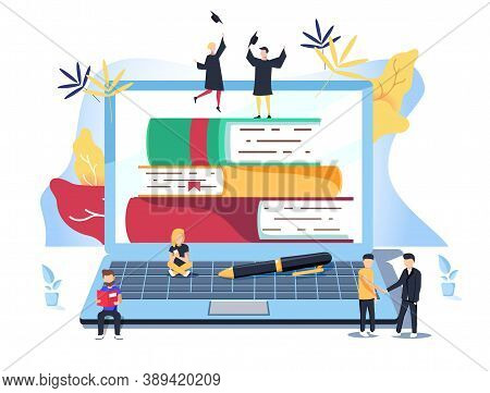 Flat Design Concept Of Family Education, Online Teaching, Learning. Vector Illustration For Website