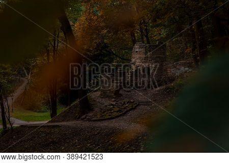 Creepy Castle Ruin In Twilight Evening Forest Autumn Fall Season October Evening Outdoor Environment