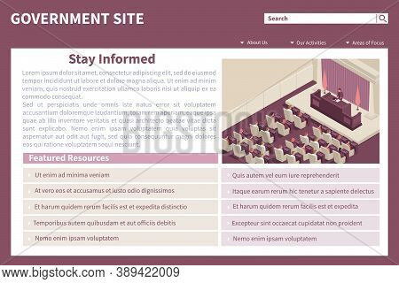 Parliament Government Webpage Isometric Web Site Landing Page With View Of Parliament Chamber And Ed