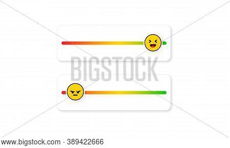 Set Of Slider Emoji For Social Media. Slider Rating Flat. Happy, Sad, Angry Faces, Emoji Ranking Sys