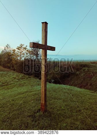 Big Cross On Autumn Meadow, Field, Trees