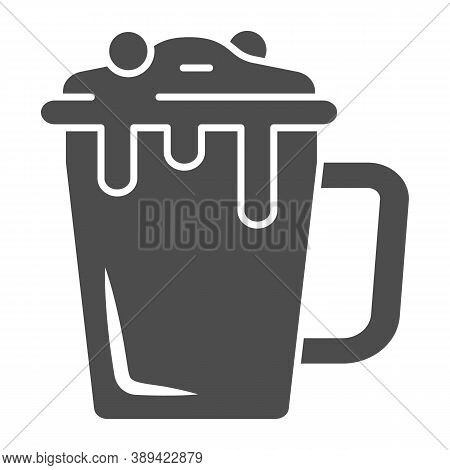 Hot Chocolate In Mug Solid Icon, Chocolate Festival Concept, Hot Chocolate Sign On White Background,