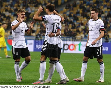 Kyiv, Ukraine - October 10, 2020: German Players Celebrate After Leon Goretzka Scored A Goal During