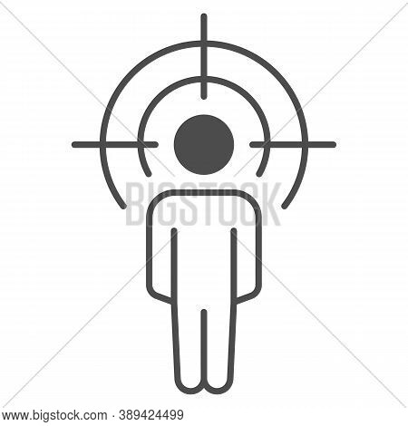 Black At Gunpoint Thin Line Icon, Black Lives Matter Concept, Blm Sign On White Background, Icon In