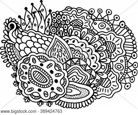 Surreal Doodle Mandala For Coloring Book For Adults. Coloring Page With Floral Abstract Motifs. Psyc