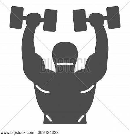 Lifting Dumbbells Solid Icon, Gym Concept, Weightlifter Sign On White Background, Bodybuilder Liftin