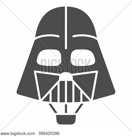 Head Of Darth Vader Air Balloon With Basket Solid Icon, Balloons Festival Concept, Kids Air Travel S