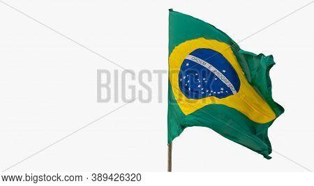 Brazil's Flag. White Background. National Symbol. Homeland Pavilion. The Brazilian Flag Is Composed
