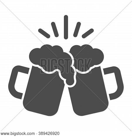 Toasting Glasses Of Beer Solid Icon, Craft Beer Concept, Cheers Sign On White Background, Beer Mugs