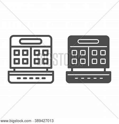 Waffle Maker Line And Solid Icon, Kitchen Appliances Concept, Waffle Iron Sign On White Background,