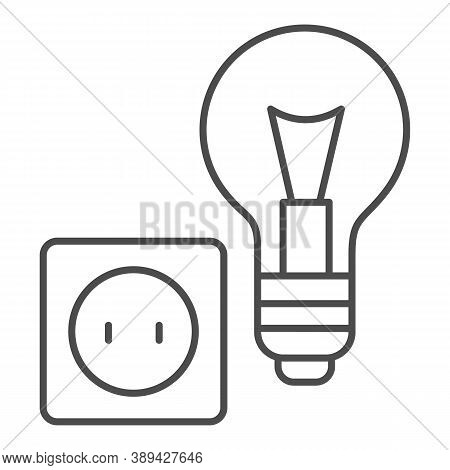 Light Bulb And Socket Thin Line Icon, Home Repair Concept, Electric Repair And Installation Sign On