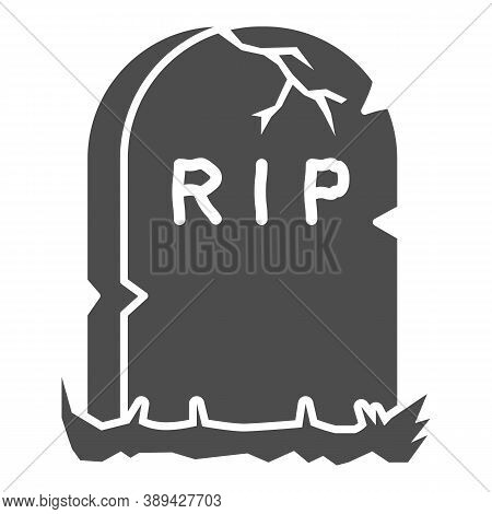 Headstone Solid Icon, Halloween Concept, Grave Stone Sign On White Background, Gravestone With Rip T