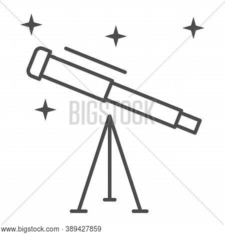 Telescope Thin Line Icon, Science Concept, Space Research Optical Instrument Sign On White Backgroun
