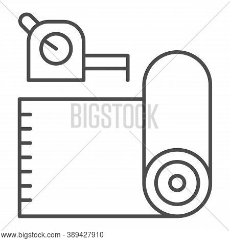 Roll Of Linoleum And Meter Thin Line Icon, House Repair Concept, Roulette Measure Sign On White Back