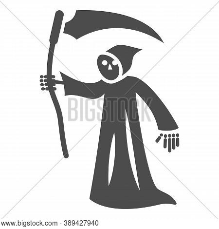 Grim Reaper Solid Icon, Halloween Concept, Death With Scytheman Sign On White Background, Grim Reape