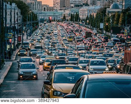 Moscow Traffic Jam. Cars Stands In Traffic Jam On The City Center On The Evrning.