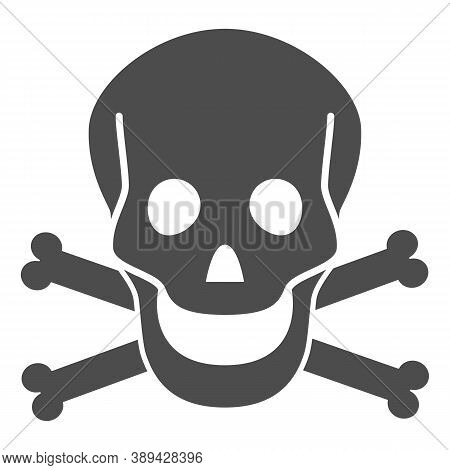 Skull And Bones Solid Icon, Halloween Concept, Danger Warning Sign On White Background, Skull And Cr