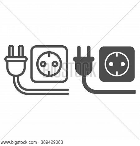 Plug And Socket Line And Solid Icon, Technology Concept, Electricity Sign On White Background, Elect