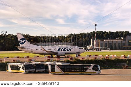Moscow, Russia - 08 22 2020: Boeing 737 Jet Of Russian Airline Utair In Vnukovo International Airpor