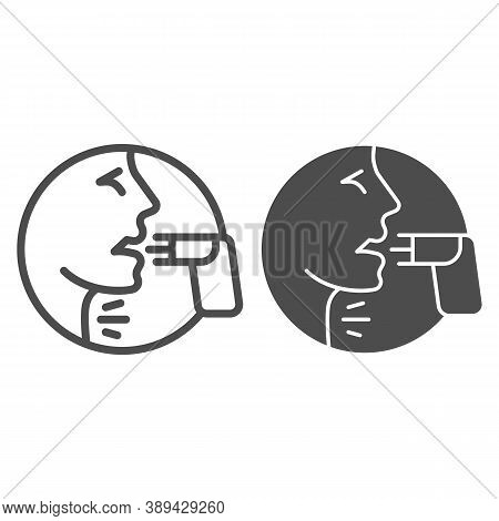 Face And Asthma Inhaler Line And Solid Icon, Allergy Concept, Applying Inhalant Sign On White Backgr