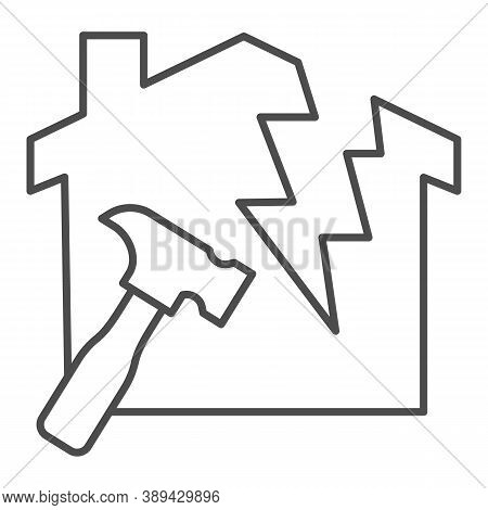 House With A Crack And Hammer Thin Line Icon, House Repair Concept, Reconstruction Sign On White Bac