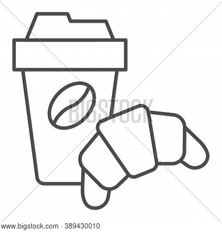 Croissant And Cup Of Coffee Thin Line Icon, Breakfast Concept, Coffee Break Time With Croissant Sign