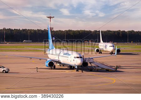 Moscow, Russia - 08 22 2020: Boeing 737 Of Russian Low-coster Pobeda In Vnukovo International Airpor