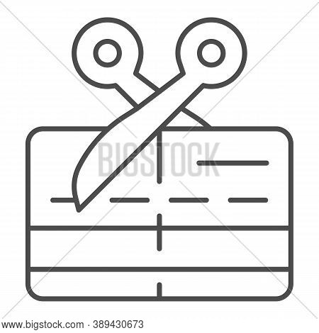 Scissors And Credit Card Thin Line Icon, Payment Problem Concept, Card Declined Sign On White Backgr