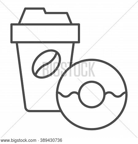 Donut And Coffee To Go Thin Line Icon, Breakfast Concept, Coffee Break Time With Doughnut Sign On Wh