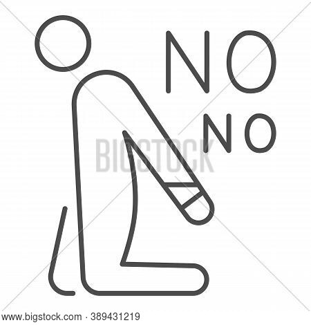 Man On Knees With His Hands Tied Thin Line Icon, Black Lives Matter Concept, Blm Sign No Bindings On