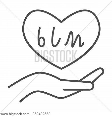 Hand Holding Heart With Blm Text Thin Line Icon, Black Lives Matter Concept, Blm Heart In Hand Sign