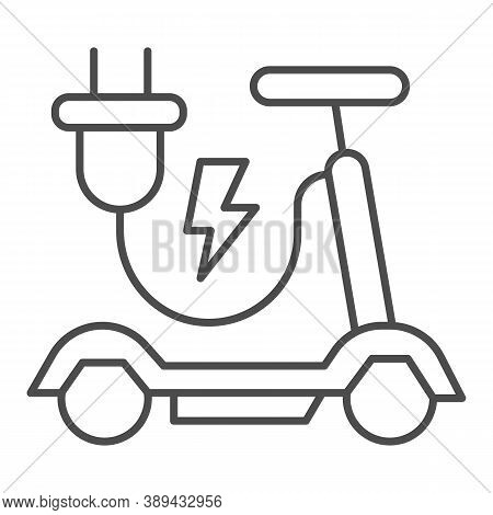 Electric Scooter Thin Line Icon, Public Transport Concept, Eco Alternative Transport Sign On White B