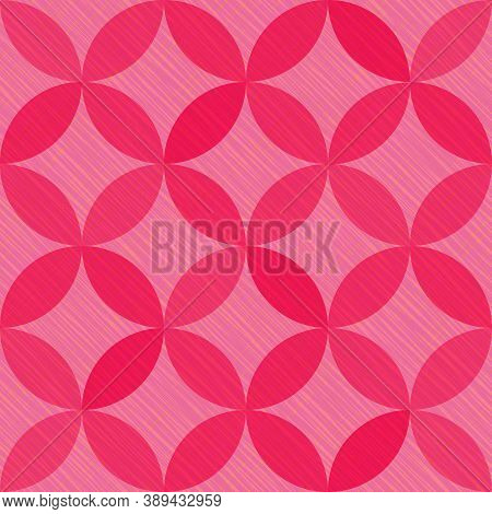 Interlacing Circles Parts Creative Seamless Vector Pattern. Guatrefoil Flower Pink Gothic Endless Or