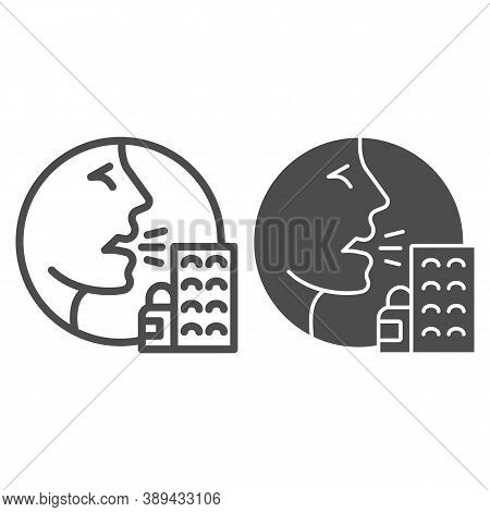 Person With Drugs Allergy Symptoms Line And Solid Icon, Allergy Concept, Allergy To Medicines And Pi