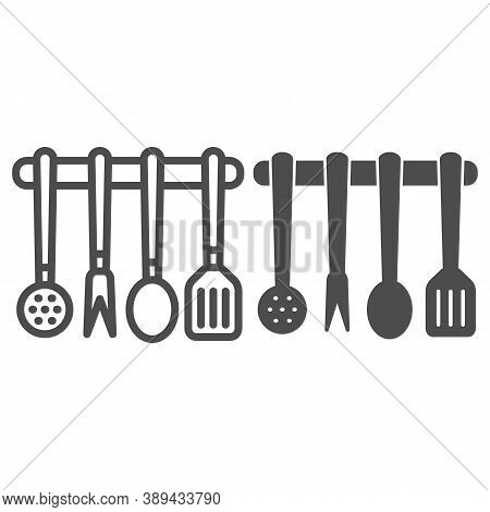 Kitchen Utensils Set Line And Solid Icon, Kitchen Appliances Concept, Cooking Tools Sign On White Ba