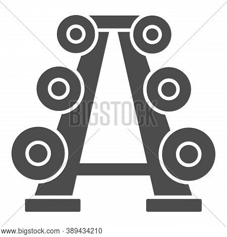 Stand With Dumbbells Solid Icon, Gym Concept, Gym Equipment Sign On White Background, Barbell Stand