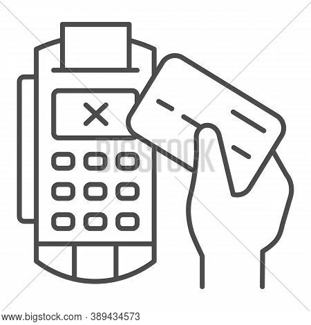 Credit Card In Hand And Pos Terminal Thin Line Icon, Payment Problem Concept, Payment Denial Sign On