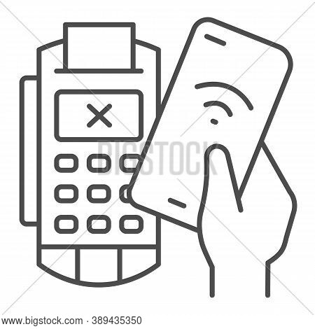 Smartphone In Hand And Payment Terminal Thin Line Icon, Payment Problem Concept, Declined Mobile Pay