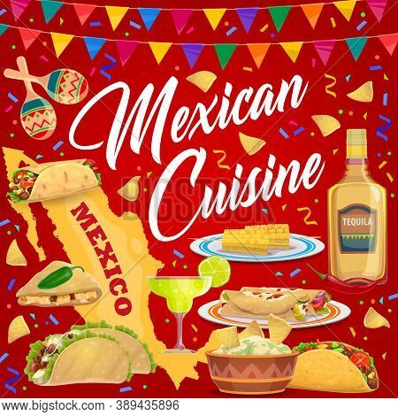 Mexican Cuisine Food And Drink Vector Design With Fiesta Party Dishes. Tacos, Burritos And Nachos Wi