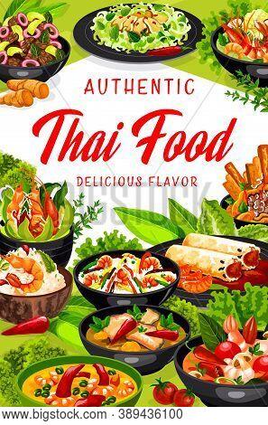 Thai Cuisine Vector Asian Dishes Spring Rolls, Rice With Coconut Milk And Shrimp, Calamari Salad, To