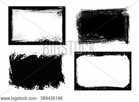 Grunge Frames Isolated Vector Black Rectangular Borders With Rough Scratched Edges. Grungy Vintage O