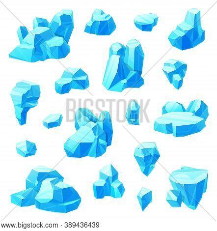 Ice Crystals Cartoon Set Of Vector Frozen Water. Blue Blocks And Cubes Of Broken Iceberg, Pieces Of