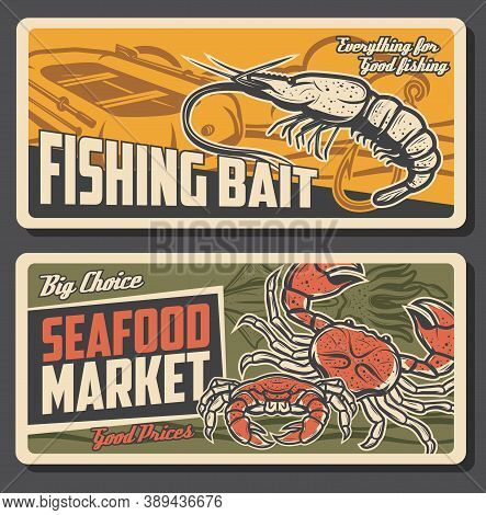 Fresh Crabs, Shrimps Or Prawns. Seafood Store Products, Inflatable Boat, Fishhook Vector. Live Fishi